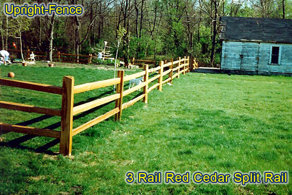 red cedar post and rail upright fence